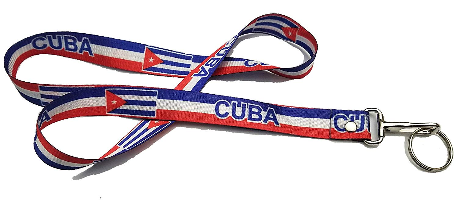 Cuba Cuban flag Neck Strap Keychain Lanyard Badge ID Card Holder Necklace Key Chain