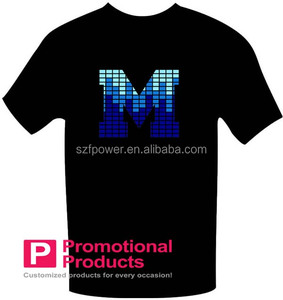 Over 1000 designs led flashing t shirt/el sound activated t shirt with inverter