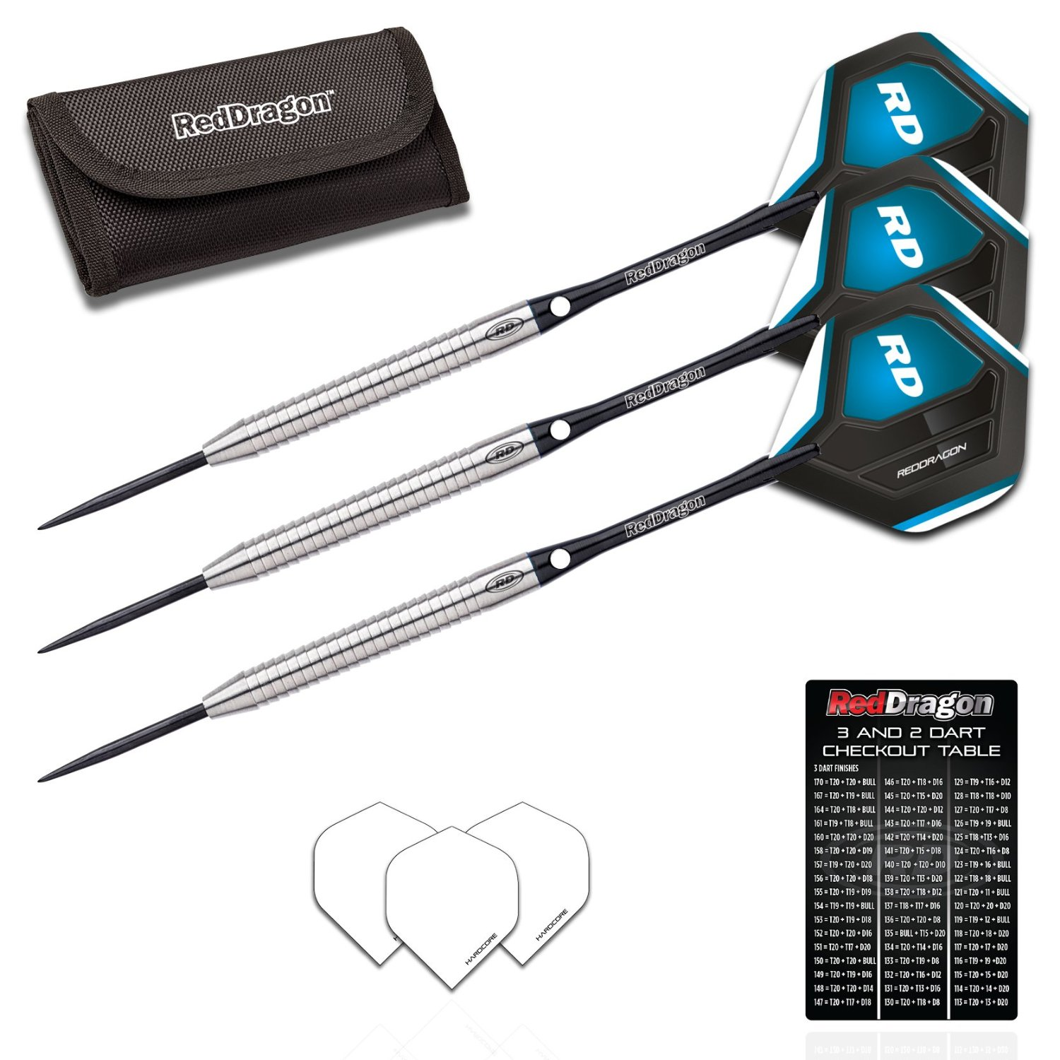 Red Dragon Razor Edge 1 - 85% Tungsten Steel Darts with Flights, Shafts & Wallet & Red Dragon Checkout Card