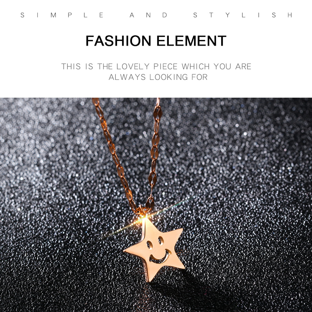 Wholesale Women Jewelry Stainless Steel Cute Charm Emoji Star Pendant