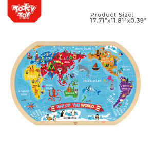 Children Educational World Map Jigsaw Puzzle Five Continents Wooden Puzzle