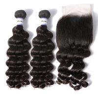 Raw unprocessed virgin 30 inch beautiful elegant grade 10a peruvian hair with closure weave