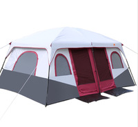 Outdoor waterproof tent 2 rooms 1 living room 6-12 person tent camping family