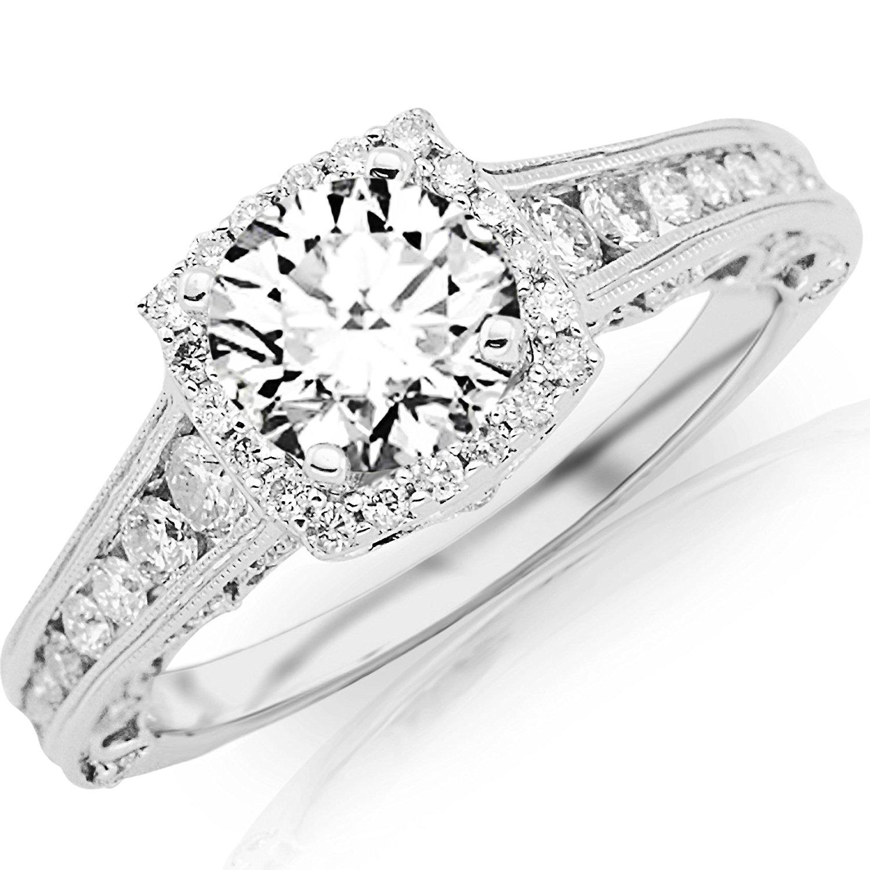 1.6 Carat Designer Halo Channel Set Round Diamond Engagement Ring with Milgrain 14K Black Gold with a 0.85 Carat I-J SI2-I1 Round Brilliant Cut/Shape Center