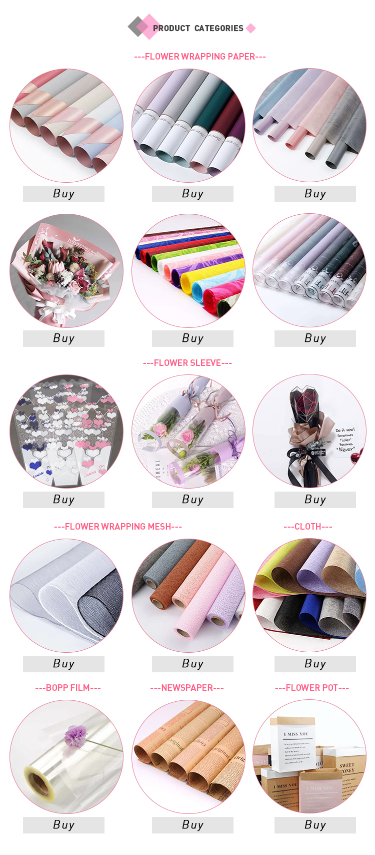 Top Fashion OEM Quality Flower Gift Wrapping Paper Korean Style  Flower Wrapping  Paper