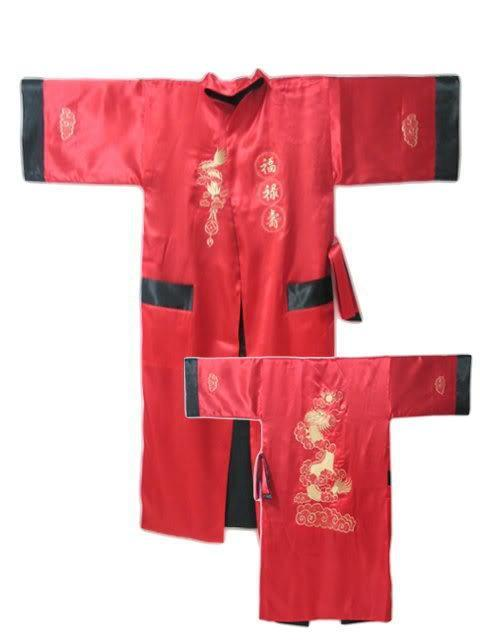 8da080dea8 Get Quotations · Red Reversible Two-face Chinese Men s Silk Satin Robe  Kimono Embroidery Bath Gown Dragon S0004
