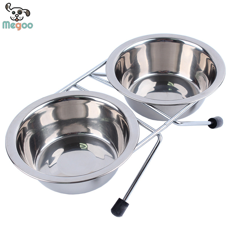 Pet Raised Double Diner Stainless Steel Dog Food And Water Bowl 4 Sizes