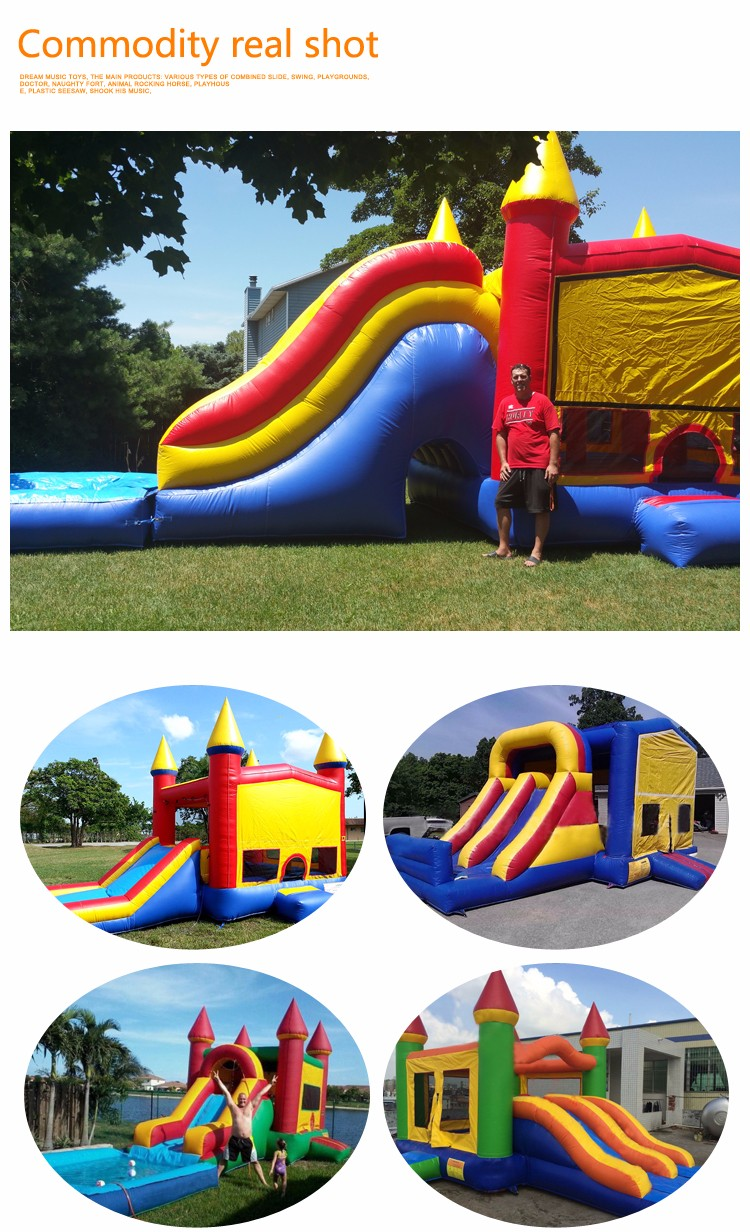 Inflatable bounce house with water slide, bouncy castle