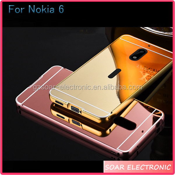 [Soar]Aluminum Mirror Metal Bumper PC Back Cover Case For Nokia 6, Electroplating Mirror Case For Nokia 6