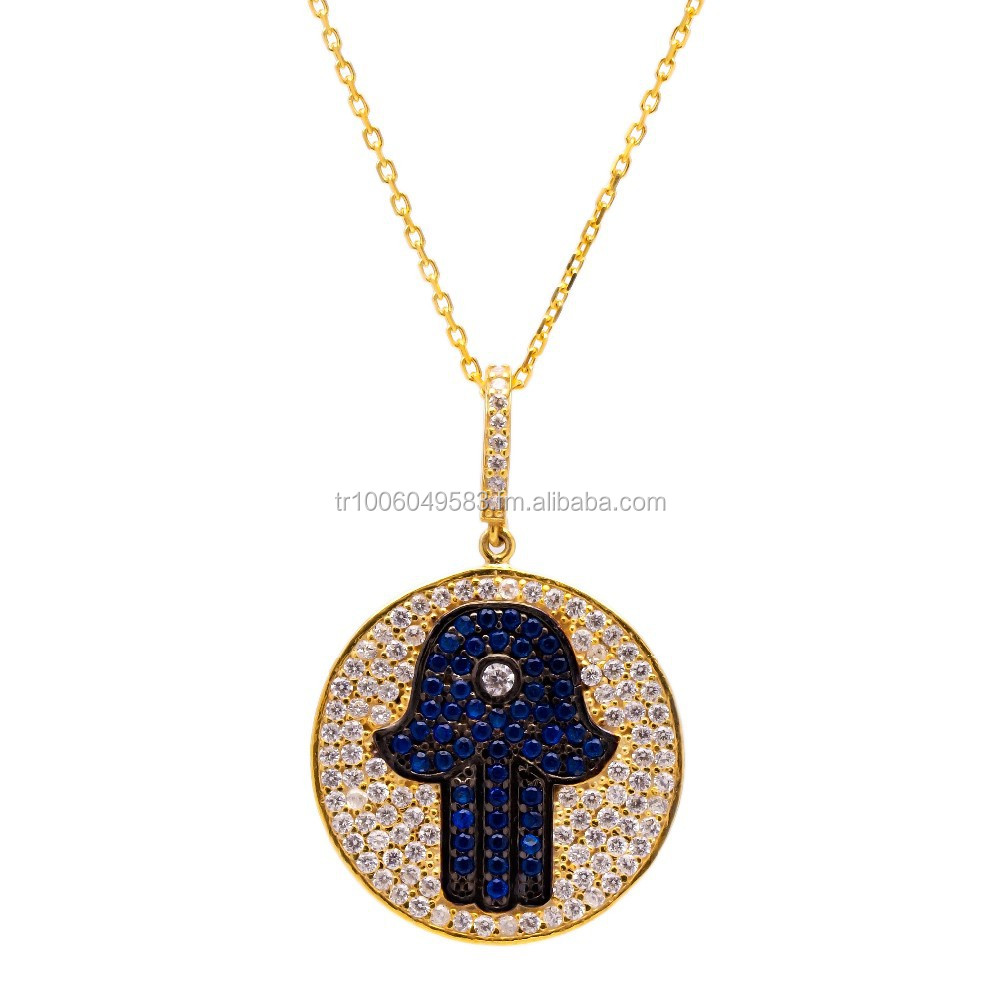 Sapphire Handmade Wholesale Turkish Evil Eye Hamsa 925 Sterling Silver Pendant