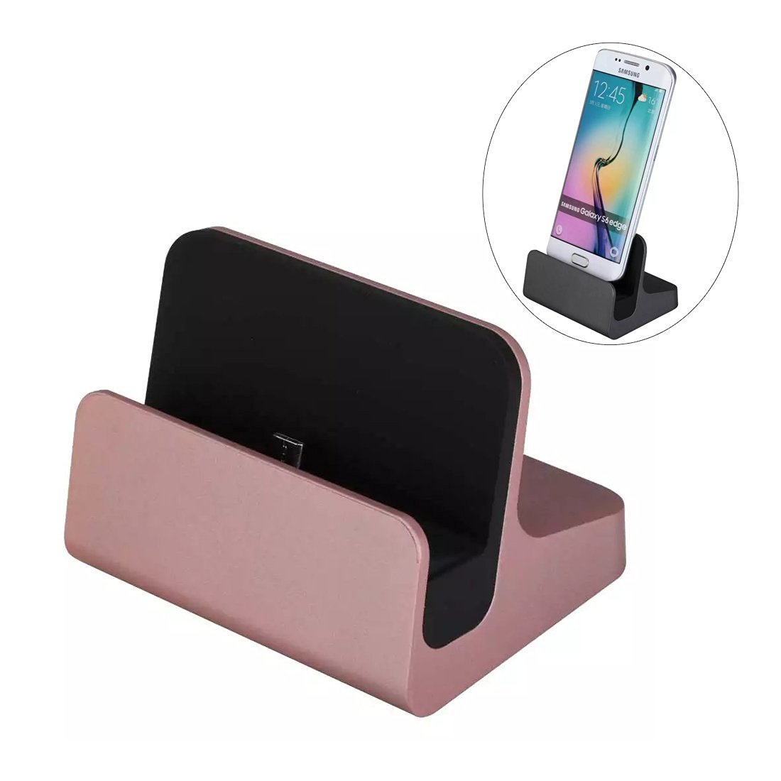 Micro USB Charge Dock Cradle - Riipoo Micro USB Charging and Data Sync Transferring Dock, Cradle for Samsung, Sony and Other Android Smart phones, Tablets (Rose Gold)