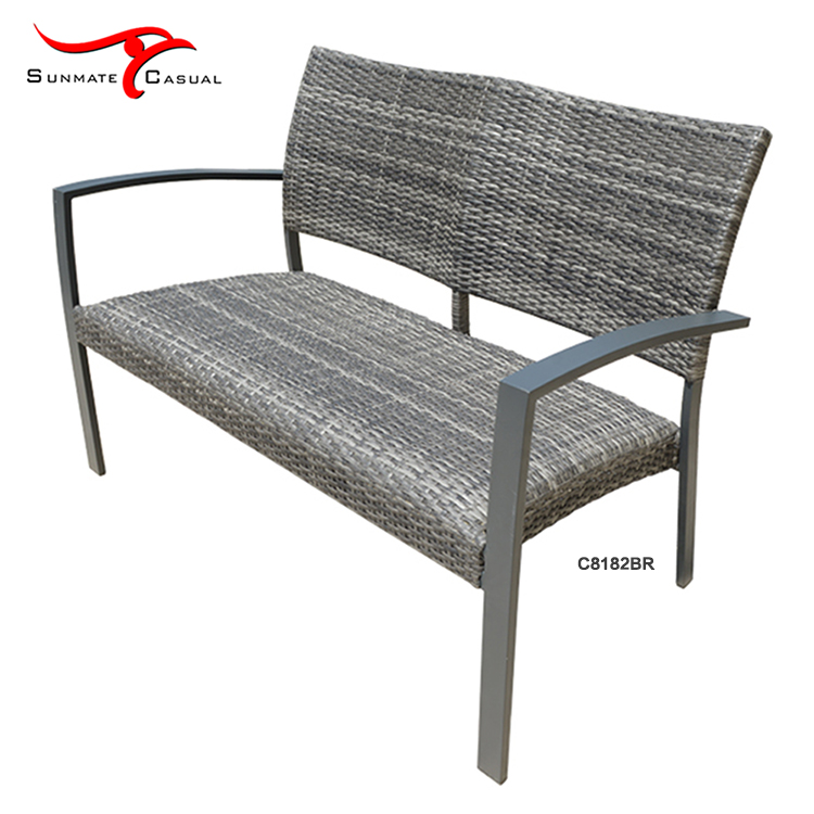 Outdoor Balcony Furniture Steel Frame Wicker Woven Long Chairs Garden Patio Bench
