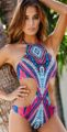 2016 Patterns Sexy High Neck Beachwear Cut Out Halter Bikini Monokini Swimsuit Bathing Suit Swimwear Womens