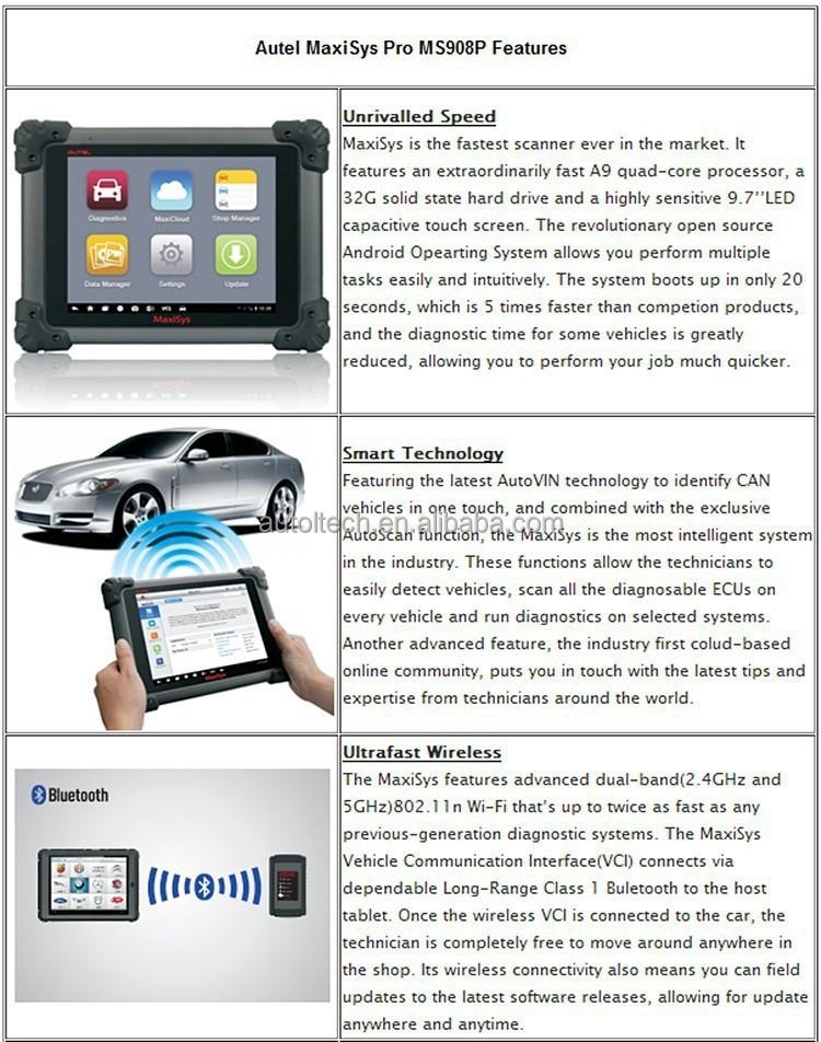 Autel Maxisys Pro Ms908p Diagnostic Equipment For Cars Ecu Obd2 ...