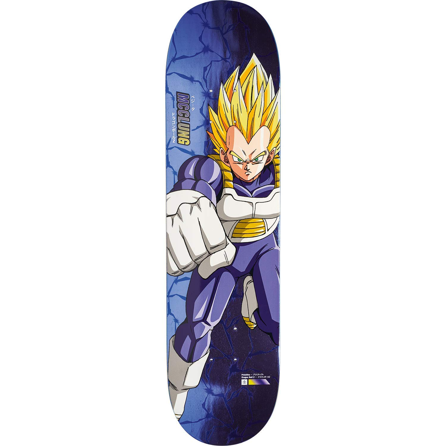 "Primitive Skateboarding Trent McClung Dragon Ball Z Vegeta Blue Skateboard Deck - 8"" x 31.5"""
