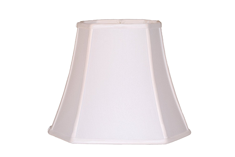 "18"" Anna white square cut corner silk lamp shade"