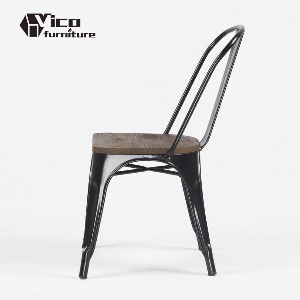 Wholesale industrial vintage design restaurant cafe bistro metal wood seat chair