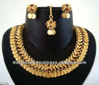 f265ff10a Indian Temple jewelry -South India Goddess jewelry- Antique Indian jewelry  - Imitation jewelry set