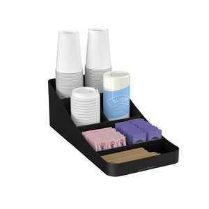 7 Compartment Black Color woodedn Coffee Condiment Storage Organizer box