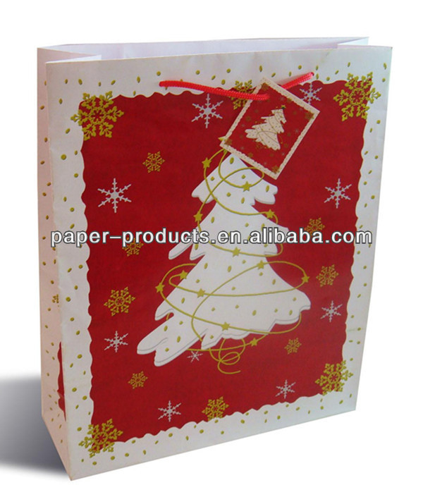 Paper Gift Bag Christmas Tree Gift Bag With Red Rope Handles