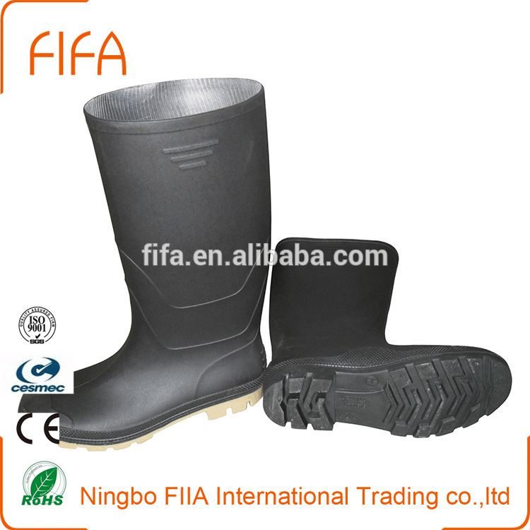 Portable boots-Italy style,Black heavy duty steel toe insert pvc safety boots