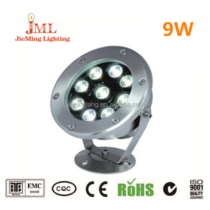 Factory manufacture IP68 waterproof 9w LED underwater light 12V 24V fountain lights for swimming pool