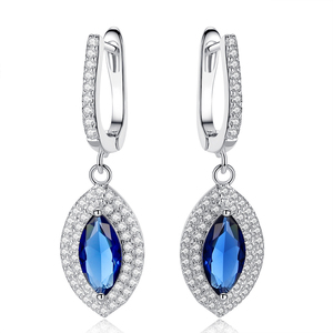 Luxury brincos long earring blue artificial cristal Water drop type drop earrings for women fashion jewelry HS-WL-E231