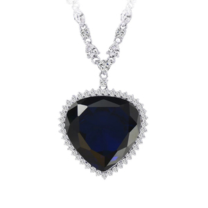 43164 Luxury fashion jewelry heart of the ocean blue heart necklace