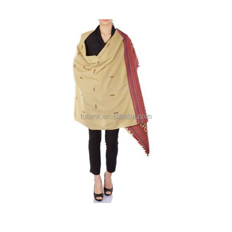 Light Yellow Embroidered Wool Shawl Wrap for Womens