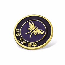 Wholesale antique old coin 24k gold plated badge 3d custom pin badge 1 oz gold coin