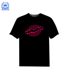 Hot sale party music el cloth el sound activated T-shirt/fashion street t-shirts