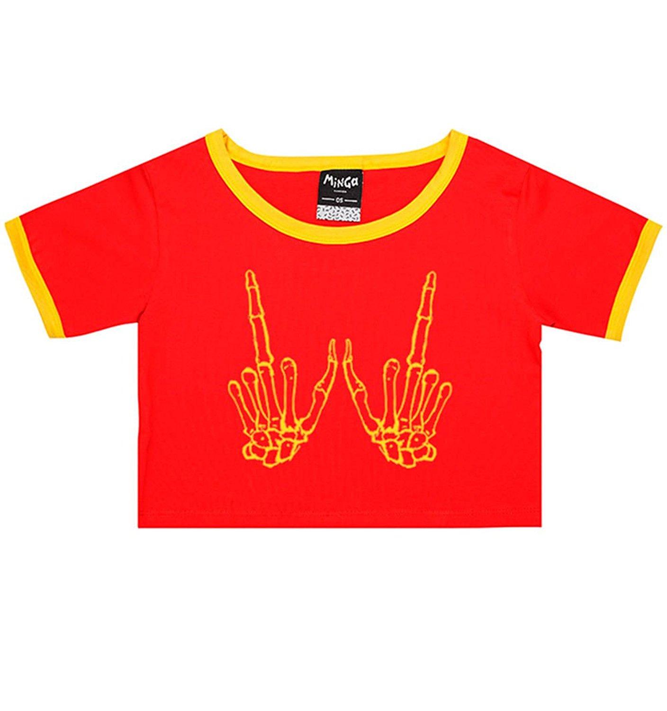 Skeleton Hands Ringer Tee Crop T-Shirt Tumblr