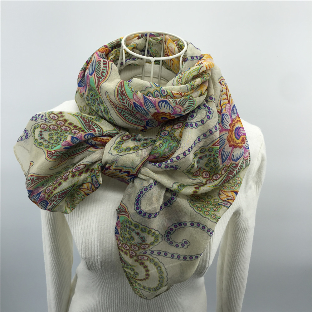 High quality hot sell newest girls printed cotton voile scarf