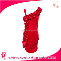 Red cute should-straps with flower decorate dress 8109