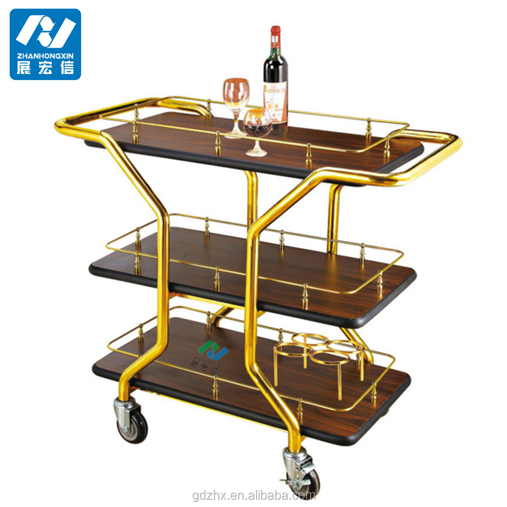 wooden liquor trolley wine cart for hotel