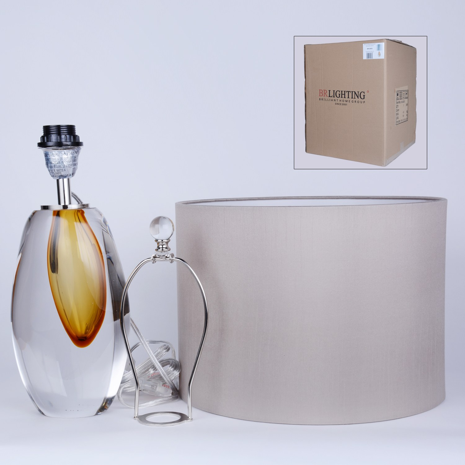 Unique Designed Amber Blown Glass Lamps in Bubble Glass Base for Bedside Living Room Office Decor Glass Lamp