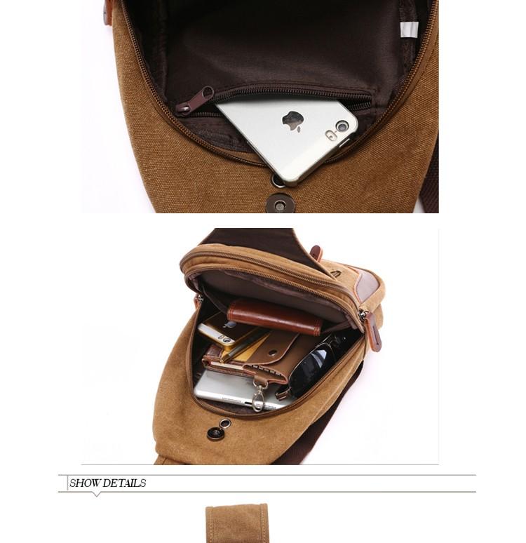Augur Canvas Bags Chest Pack Messenger Bag Khaki Multi-functional ...