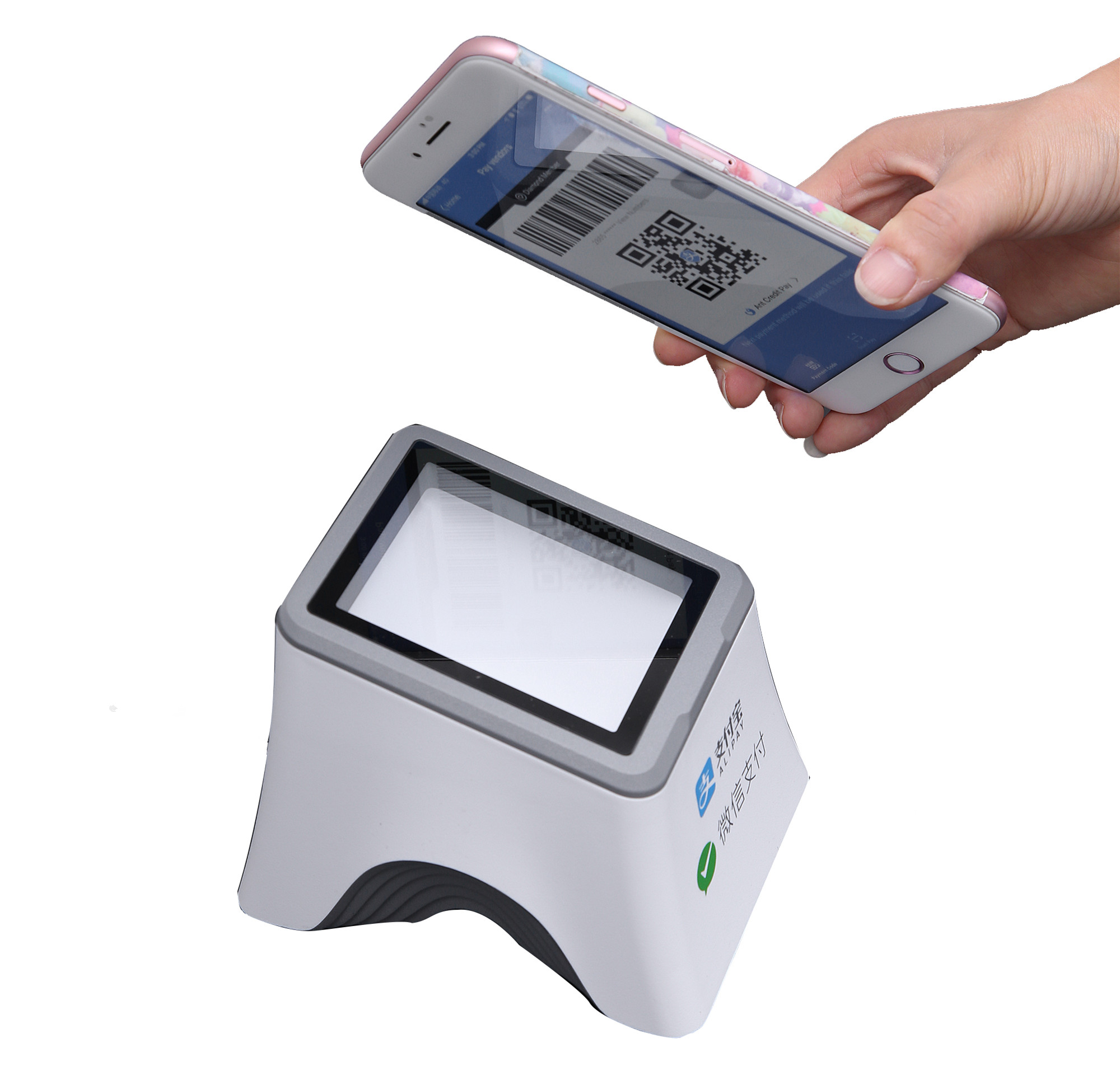 1D 2D Rfid portatile Bluetooth Auto Bar Codice Microchip Radio Wireless Android QR Barcode Scanner per Passport Police Book Printer