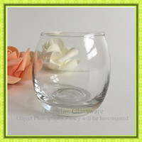 Clear bubble shape soy wax glass candle jar,for decoration glassware factory