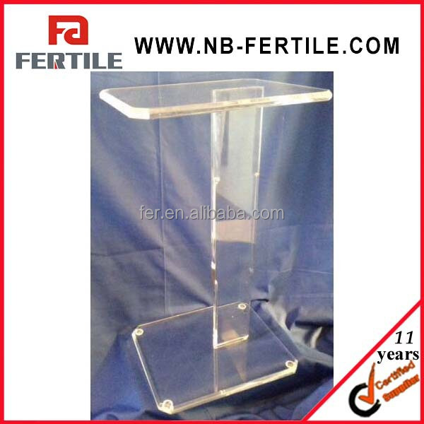 Clear Acrylic Lucite Pedestal Sofa Or Side Table