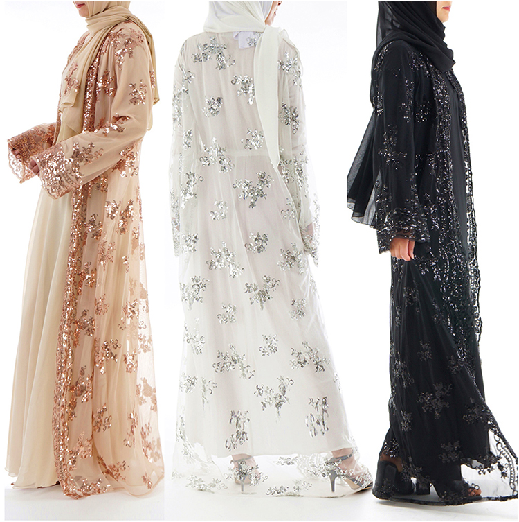 2019 islamic summer new arrival sequins embroidery luxury muslim open abaya kimono with pearl belt