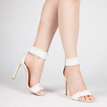 39c0ca381ab High Heels Women white Denim Buckle strap shoes Ladies stiletto 12cm High  Heel Gladiator Sandals Women