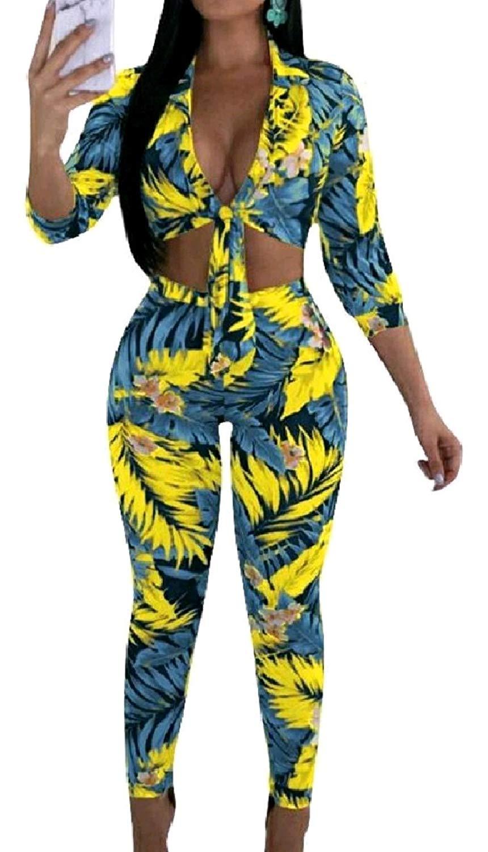 Zimaes-Women Cropped Slim Fitting Stylish Floral Plus Size Sexy V-Neck 2pcs Set Playsuit Pants