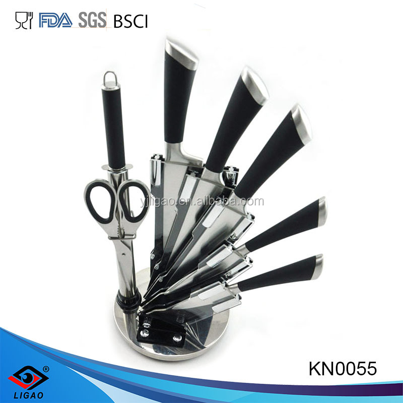 7pcs hollow handle Kitchen Knife with rotate acrylic stand