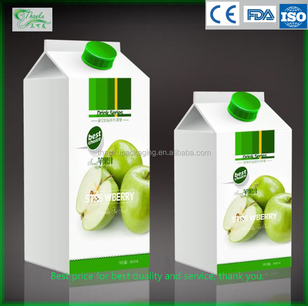 Cheap wholesale gable top standark milk juice carton