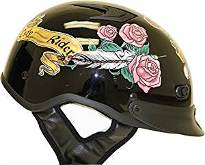 HCI Women/'s Black Lady Rider Motorcycle Polo Helmet ABS Shell 105-218