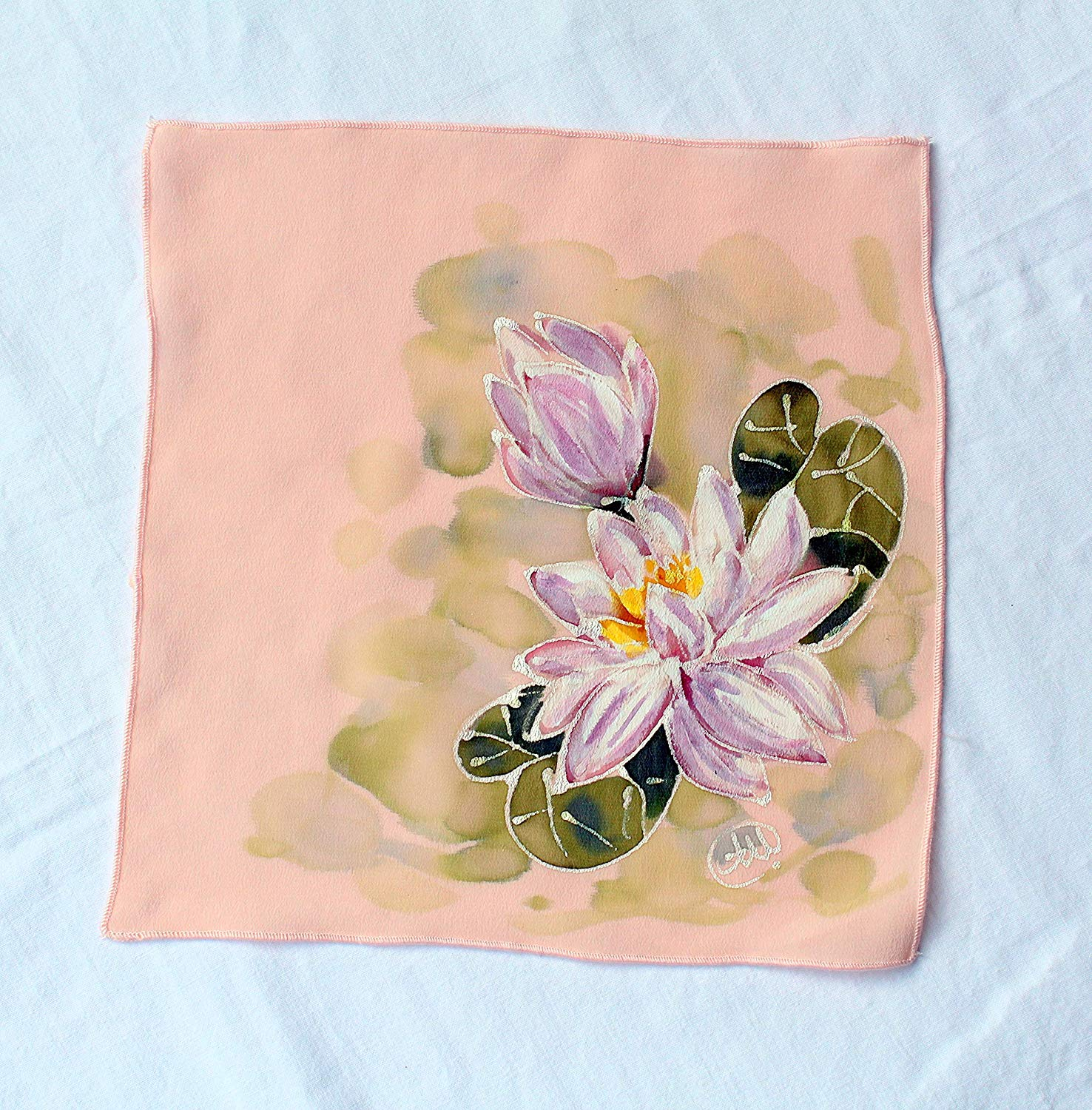 SALE!!! 15% OFF,Water Lily Silk Pocket Square Women/Hand Painted Silk Pocket Square/Great as a pocket square or Silk/Handkerchief for Men or Women/Handkerchief/Womens silk hankie,size 9.84/9.84 in.