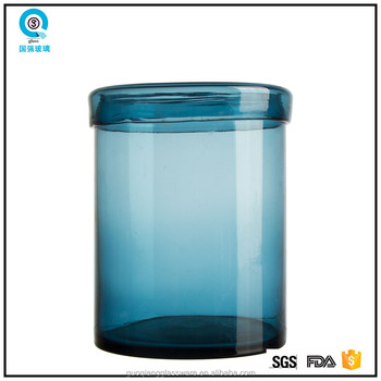 Blue Clear Cylinder Big Glass Vase With Lid For Home Decoration