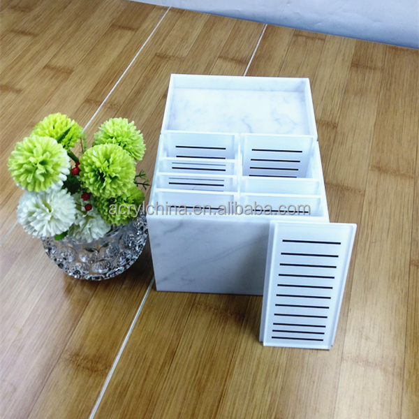 Marble Custom Acrylic Eyelash Organizer Box For Eyelash Extension