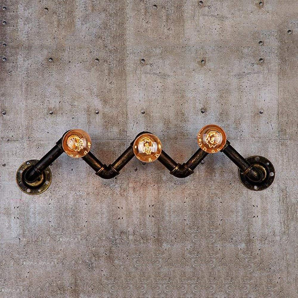 Modeen Vintage Water Pipe 3 Heads E27 Wall Light Fixture Industrial Metal Loft Antique Wall Lamp Edison Retro Pipe Wall Decorative Fixtures Lighting Luminaire